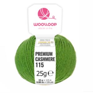 25g wloczka Premium cashmere zielen 284 woolloop etykieta