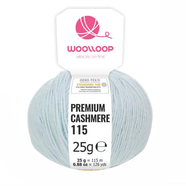 25g wloczka kaszmir premium 6 28 pastelowy niebieski 240 woolloop etykieta