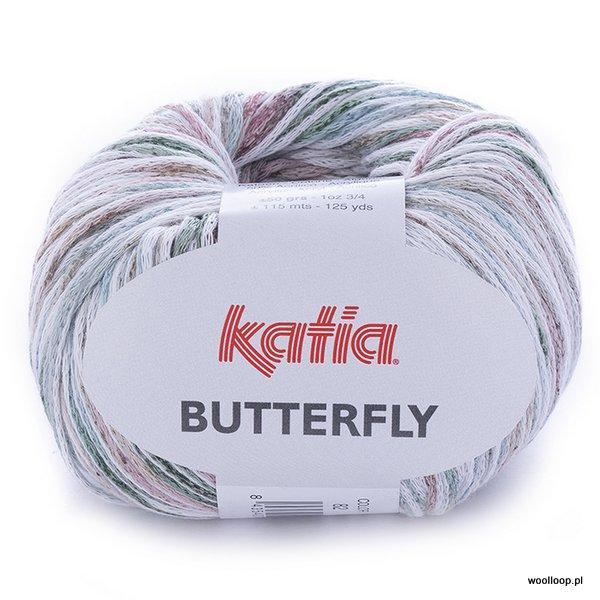 Butterfly 82 zielony-różowy-beżowy