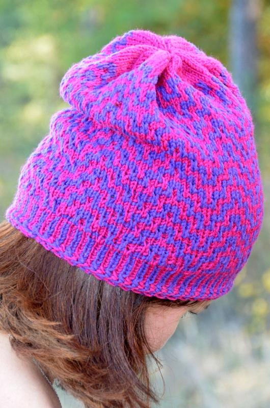 czapka wzorem mozaikowym z włóczki Durable Cosy Fine