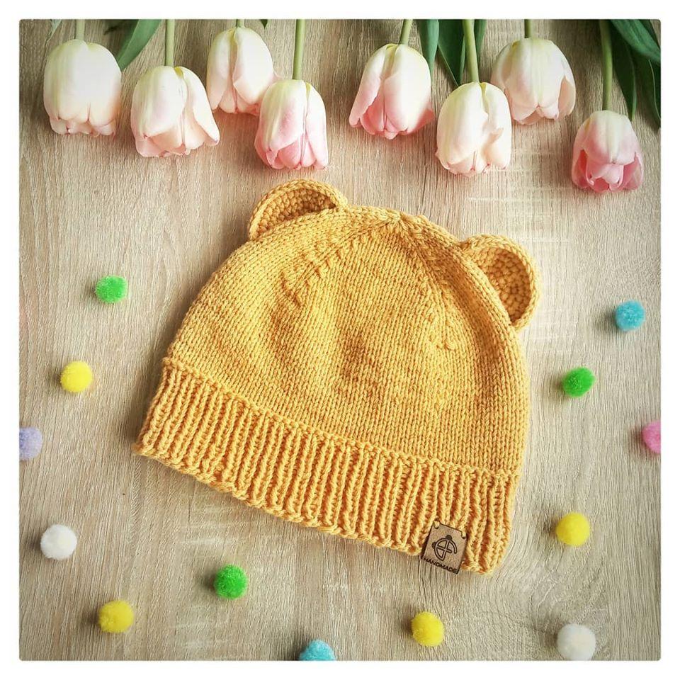 Edd Fu Panda czapka dziecieca na drutach z wloczki Novita Baby Merino woolloop