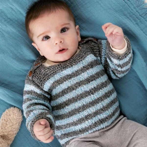 dziecięcy sweterek na drutach Katia Lagom woolloop