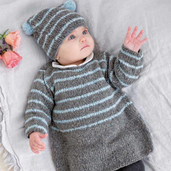 niemowlęca sukienka na drutach z włoczki Katia Lagom woolloop