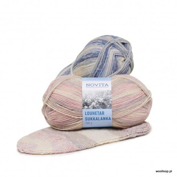 pastelowa wloczka skarpetkowa z welna i bawelna Novita Louhetar Sukkalanka woolloop