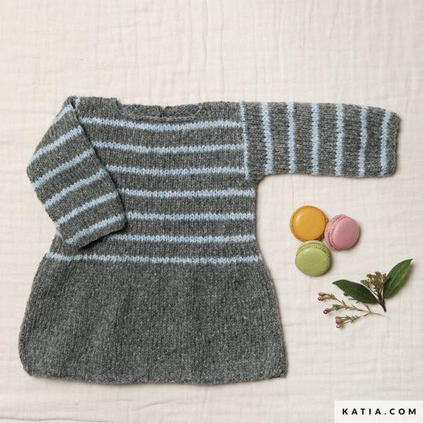 sukienka dziecieca w paski dziergana Katia Lagom woolloop