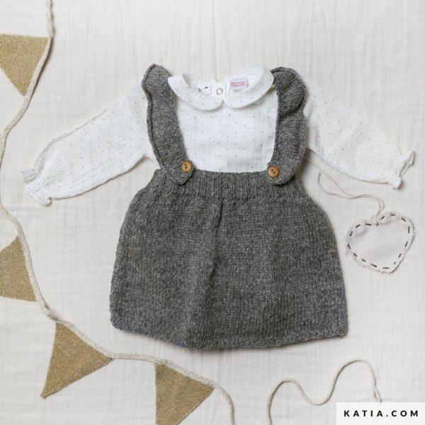 wzor na sukienke dziecieca z szelkami na drutach - wloczka Katia Lagom woolloop