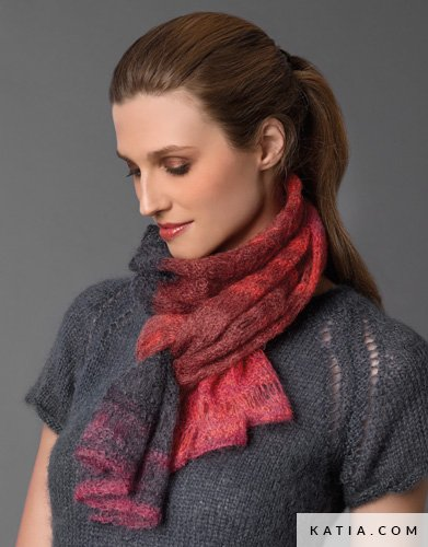 pattern knit crochet woman scarf autumn winter katia 5946 20a g