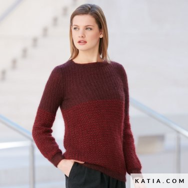 pattern knit crochet woman sweater autumn winter katia 6040 2 p