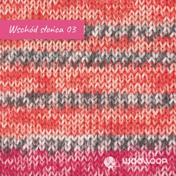 probka wloczki skarpetkowej z kaszmirem Hot Socks Pearl colors Grundl kolor 03 Wschod Slonca woolloop