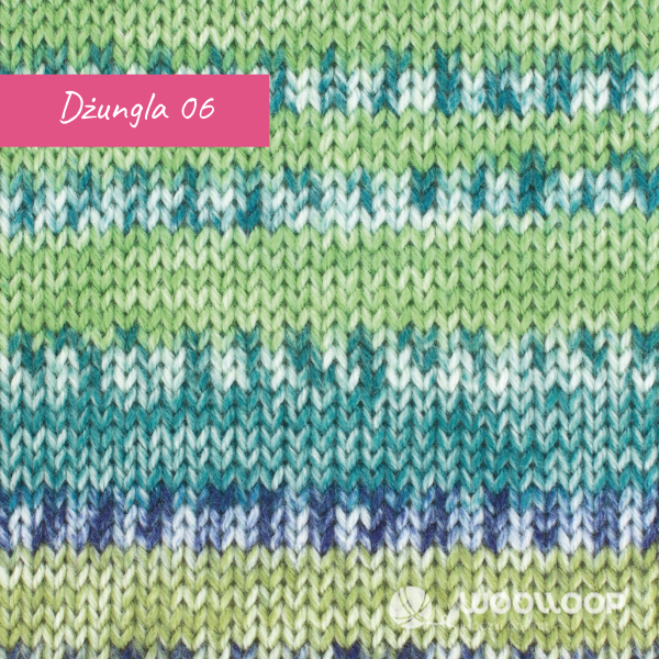 probka wloczki skarpetkowej z kaszmirem Hot Socks Pearl colors Grundl kolor 06 Zielona Dzungla woolloop