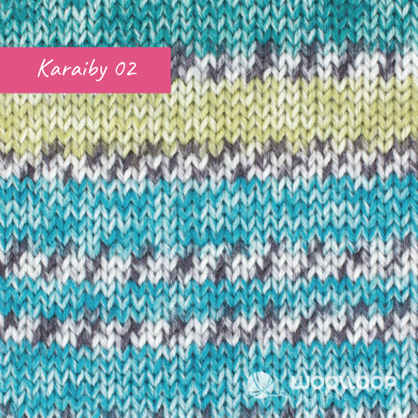 probka wloczki skarpetkowej z kaszmirem Hot Socks Pearl colors Grundl kolor 02 Karaiby woolloop