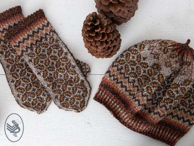 rekawiczki z jednym palcem i czapka beret na druatch z wzorami zoledzi z wloczki Durable Forest