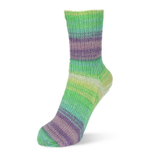 skarpetka z wloczki Rellana 2035 Flotte Socke Stretch Tutti Frutti 1413 bawelna ze4 strechem woolloop