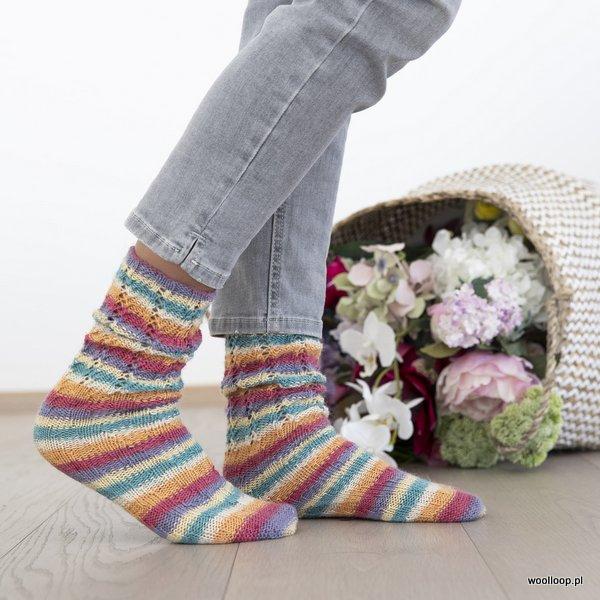 skarpetki w paski wloczka Grundl Hot Socks color woolloop