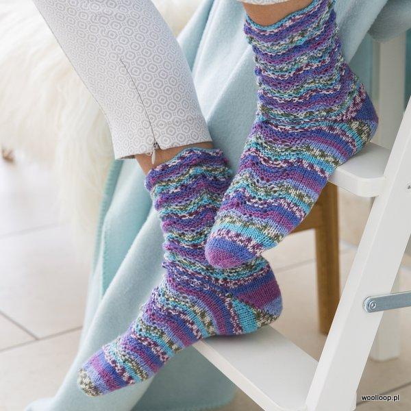 skarpety na drutach wloczka Hot Socks Rubin z merino i bambusem Grundl kolor 01