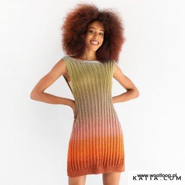 sukienka na drutach z wloczki Katia Harmonia 205 woolloop