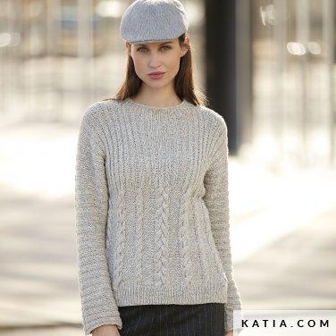 sweter damski z warkoczami katia lagom woolloop