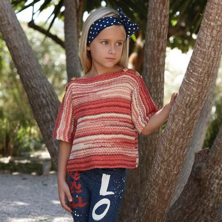 sweter dla dziecka z wloczki Katia Bora Bora czerwony bialy woolloop