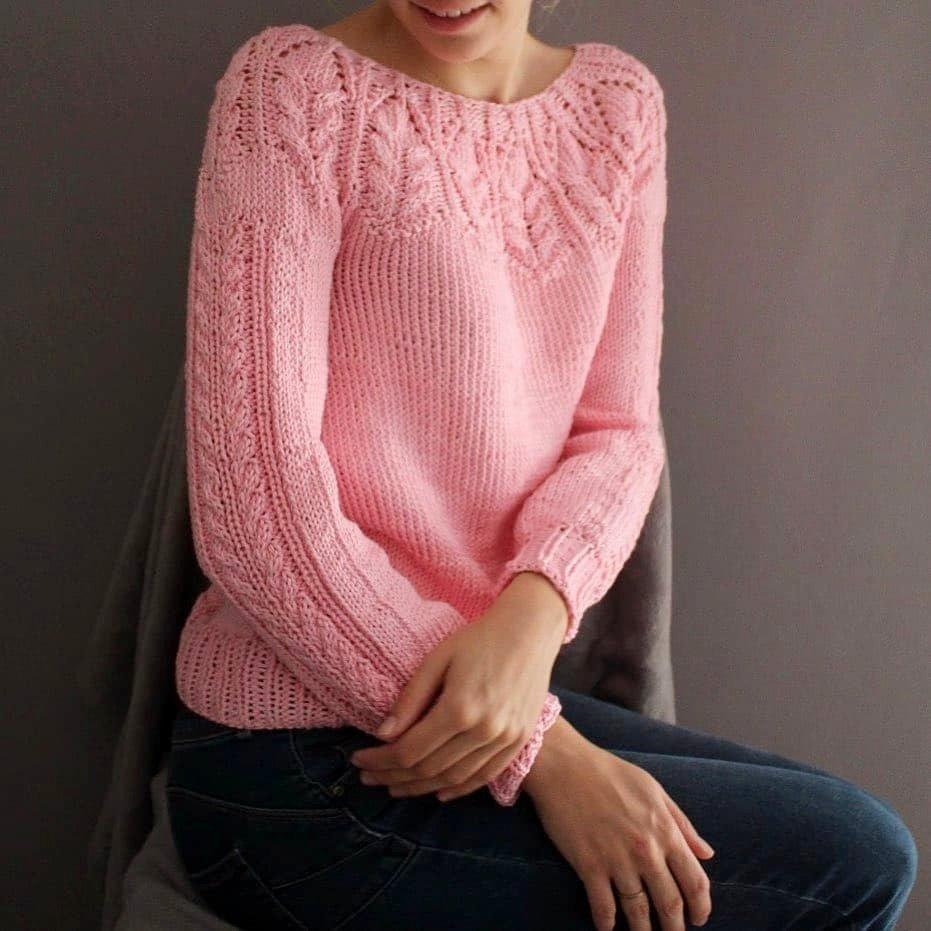 sweter na drutach z włoczki bawelnianej Super Must have woolloop
