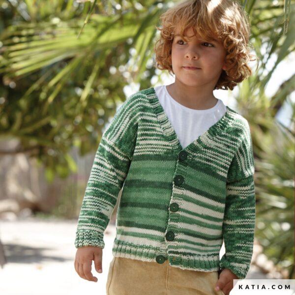 sweter rozpinany chlopiecy z wloczki Katia Bora Bora zielony wolloop