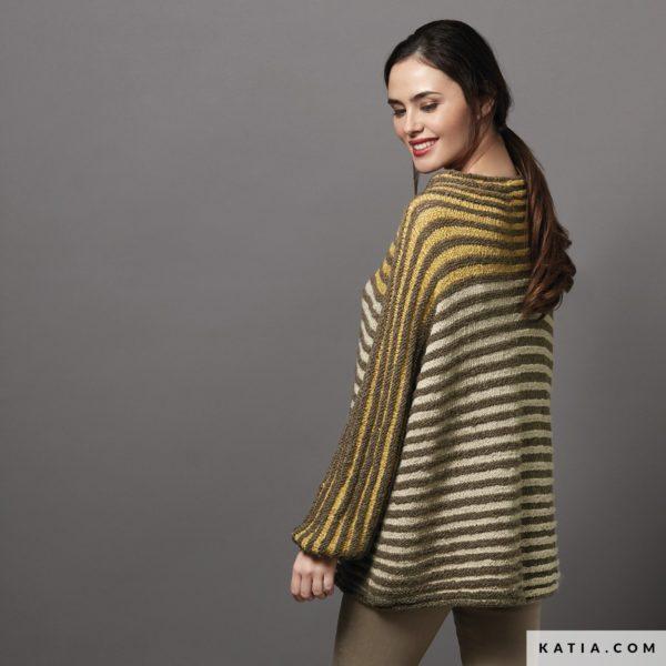sweter w paski z wloczki katia lagom musztardowy