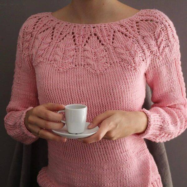 sweter yoke z grubej włóczki bawelnianej Super Must have woolloop