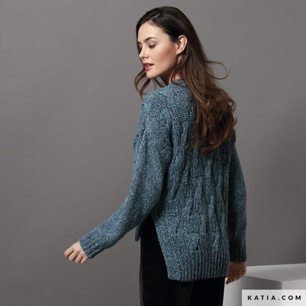 sweter z wloczki katia lagom niebieski