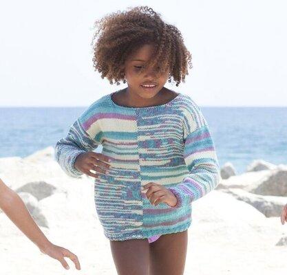 sweterek dzieciecy z wloczki Katia Bora Bora woolloop