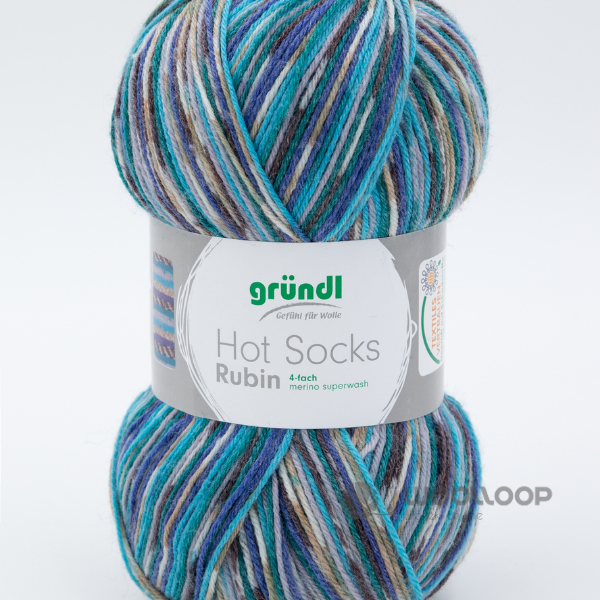 wloczka skarpetkowa Grundl Hot Socks Rubin brazowo turkusowy 06 woolloop