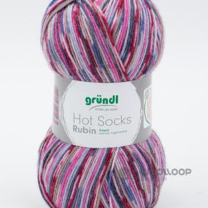 wloczka skarpetkowa Grundl Hot Socks Rubin fioletowo fuksjowy 03 woolloop