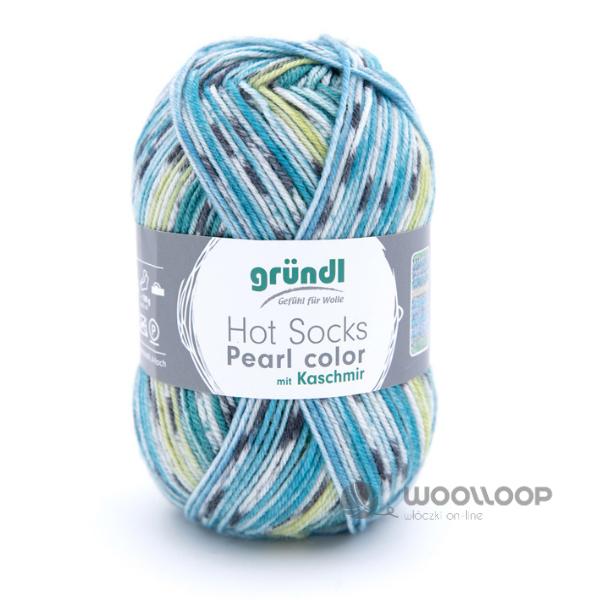 wloczka skarpetkowa z kaszmirem Hot Socks Pearl colors Grundl kolor 02 Karaiby woolloop