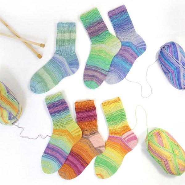 wloczki skarpetkowe z bawelna Rellana Flotte Socke Stretch Tutti Frutti woolloop